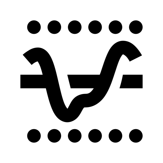 Próg elektryczny icon. It is a logo with a dotted line on the top and the bottom. There is one solid line in the middle. There is a squiggly line going up and down through the solid line.