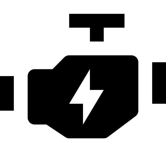 Engine icon. It's a logo of a polygonal object with three T-shaped connections sticking out of different sides indicating the fuel lines running into it.  In the middle is a lightning bolt, indicating that power is being generated within.