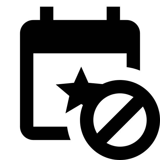Event Declined icon. The icon's shaped like a square with a star at the center and a horizontal line that runs towards the top. At the top of the square are two vertical rectangles that overlap, one towards the left and one towards the right. At the bottom right of the square is a overlapping circle with a slanted line running through it.