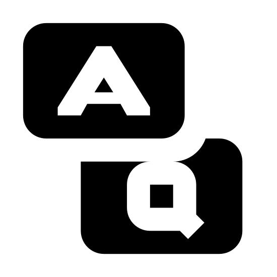 """FAQ icon. The icon FAQ is two squares on top of each other with the top one off to the right. The top square has a capital """"A"""" in the middle and a small point on the bottom right corner that extends past the edge. The bottom square has a capital """"Q"""" with a point that extends past the edge on the bottom left corner."""