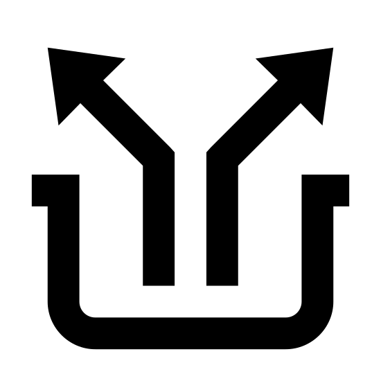 Junction icon. It's an icon depicting outgoing. A black line making a shape to that of a rectangle, sits with the longer side horizontal. The top to this rectangle is open except a small portion at either end. Where the rectangle is open at top, two line figured arrows expel up and outwards in separate directions from the center. The left out towards left and right out to the right.