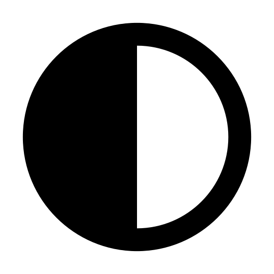 First Quarter icon. It's a circle that signifies the moon. It has a line drawn down the middle, cutting it in half. The left half is filled in with dots and the right half is left plain.