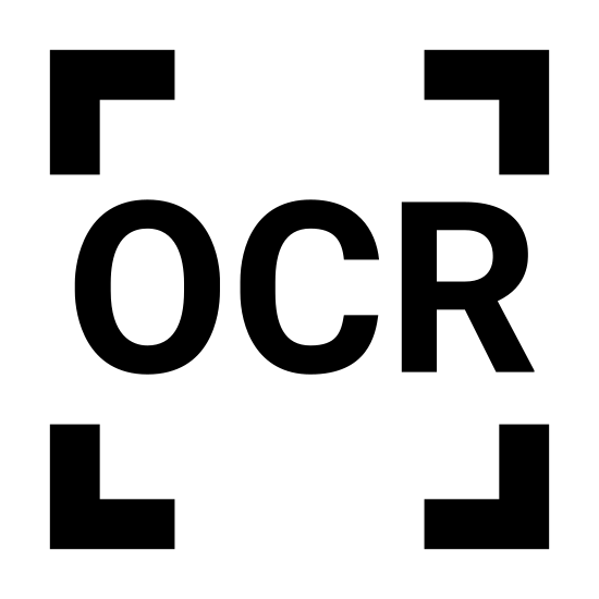 General OCR icon. It's a logo of four corners of a square with OCR written inside. The square just has blank space for the middle of each side so that only the corners are visible in the image.