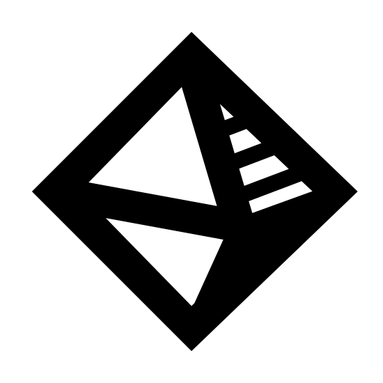 Geometria icon. It is a logo of a 3-dimensional diamond. The left sides are plan, but the upper right has dots and the bottom right has stripes.