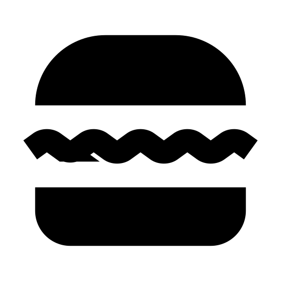 Hamburger icon. This icon resembles a hamburger. There is a wide, rounded rectangle on the top and bottom and three smaller rectangles in between. The rectangle on top has three black dots. One of the sandwiched rectangles has a wavy bottom edge, another is a rigid rectangle and the third is a rectangle with rounded edges.