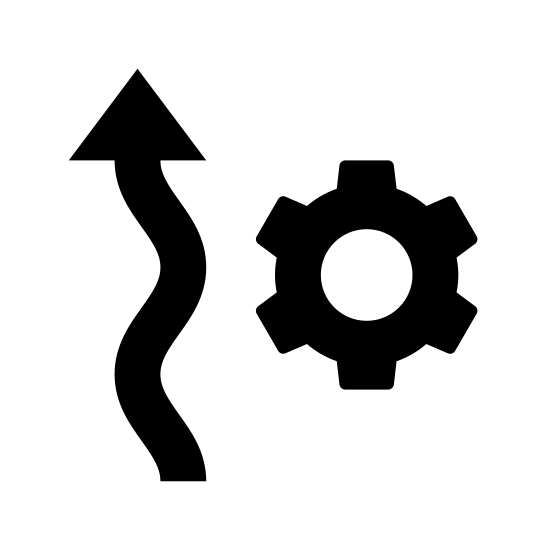 Automatyka ogrzewania icon. The icon resembles two squiggly vertical arrows that are pointing up. The arrows are placed side by side to each other. To the right of the arrows towards their center is a cog like shape.