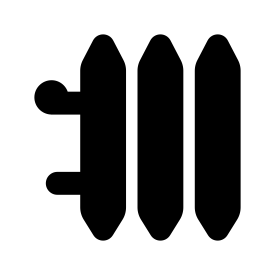 Radiator icon. The radiator logo consists of two horizontal tubes in the background of the image. On top of the tubes there are four vertical rectangles with pointed ends to represent the coils.
