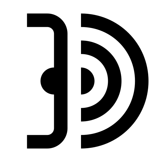 Wysyłanie wiązki podczerwieni icon. This object is made up by half of a bracket symbol with a half of a circle in the middle of it. To the right of the circle are 5 curved lines going from smallest to largest.