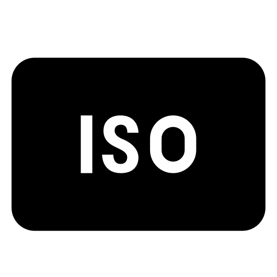 "ISO icon. The logo is a rounded rectangle that is longer horizontally than it is vertically. On the inside of the rectangle are the letters ""ISO"" in all capital letters. The letters are centered on the inside off the rounded rectangle."