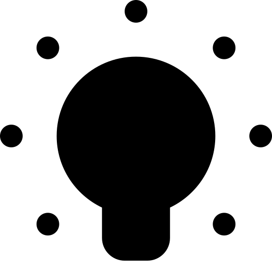 Lumière allumée icon. There is a light bulb facing upwards. Around the light-bulb there is seven visible diagonal lines all beaming off in different directions giving the idea of emitted light.