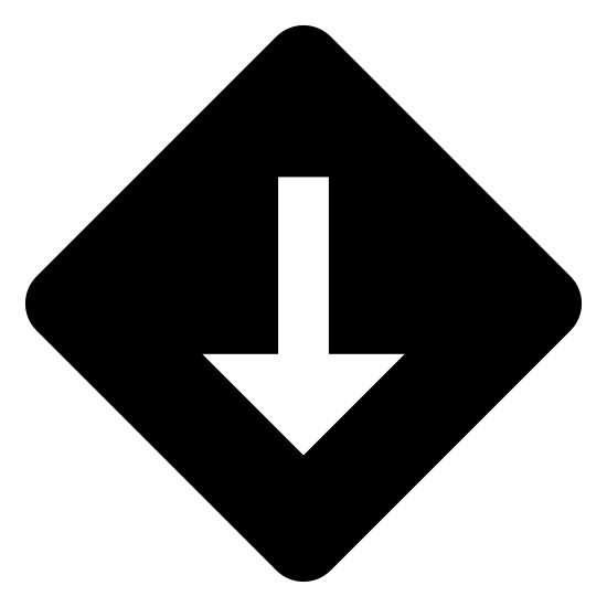 Niedrige Priorität icon. There is a diamond shape that resembles a road sign. In the middle of the shape is a single vertical arrow that is pointing downward, the sign lacks detail aside from the arrow.