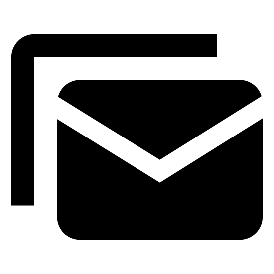 Wiadomość grupowa icon. The icon is a picture of group message. The icon is the shape of two rectangles. The rectangle in front of the other one looks like an envelope. The envelope looking rectangle is slightly lower and to the right of the rectangle behind it.