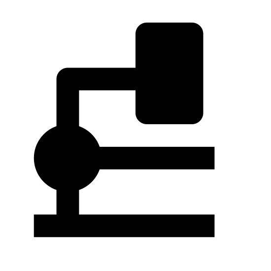 Mikroskop icon. The icon is depicting a microscope. The body of the microscope is curved and oriented towards the right. The microscope is resting on a thin rectangular base with curved edges.