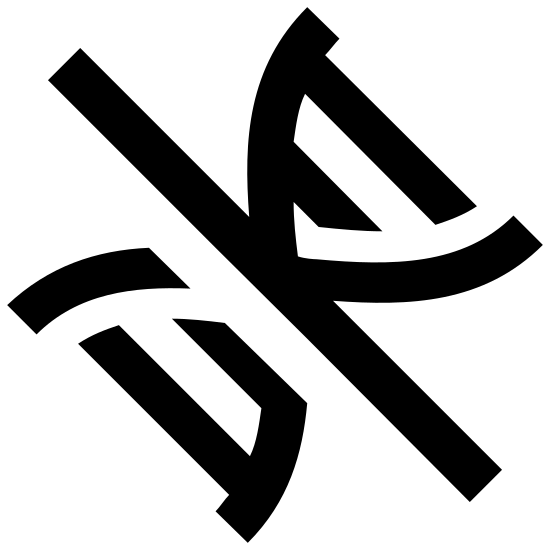Bez GMO icon. This is an image of a DNA double helix facing diagonally on its lower right corner.  On top of the DNA is a strike through line that goes from the upper left of the image to the lower right.