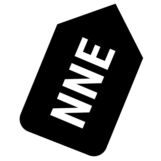 North North East icon. A half of a hexagon with letters inside it. The letters consist of N, N, and E. The top of the half of a hexagon is an arrow. The letters are in the center of the half of a hexagon.
