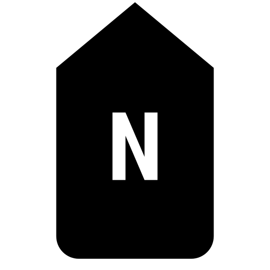 North icon. This image is depicting a tag shaped rectangular object pointing upwards with a capital 'N' in the center of it. The rectangle forms a point going upwards but does not have a bottom to close the shape.