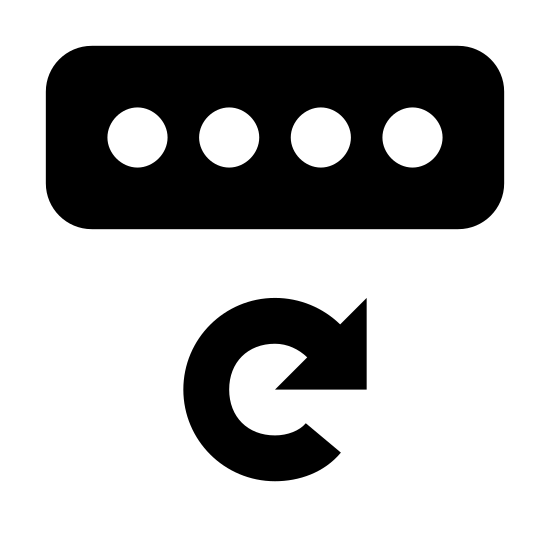Password Reset icon. It's a rectangle that is longer horizontally. Inside it there are 4 small circles, side by side along the length of the rectangle. Below the rectangle there is an arrow portrayed in the shape of a circle. The point of the arrow is approximately where you would find the 2 on a clock.