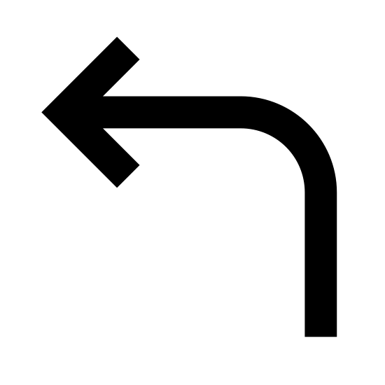 Reply Arrow icon. This image depicts a leftward facing arrow. The arrow is pointed at its left most end, with the head being an equilateral triangle. On its right side, the arrow extends downward and narrow into a point at its tail.
