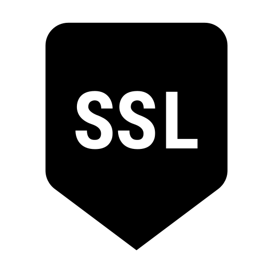 Zabezpieczenia SSL icon. It is an emblem or a shield with the letters SSL inside of it right in the middle of the shield. There are four total points on the shield, one at the bottom, two on the top left and top right corner and then one rounded point slightly above the two corners.