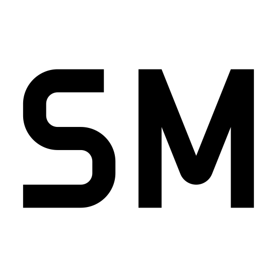 Service Mark icon. The letters S and M are next to each other each written out in bubble letters. The letter S follows a typical curvy font where-as the letter M is more jagged.