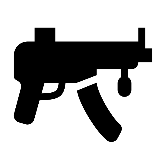 Pistolet maszynowy icon. This icon represents a submachine gun. It is a rectangle with two lines going down into two handles with a trigger in the middle. There is a smaller rectangle coming out the right side with a small rectangle on the bottom and a line on top and a small sqaure in front of it all.