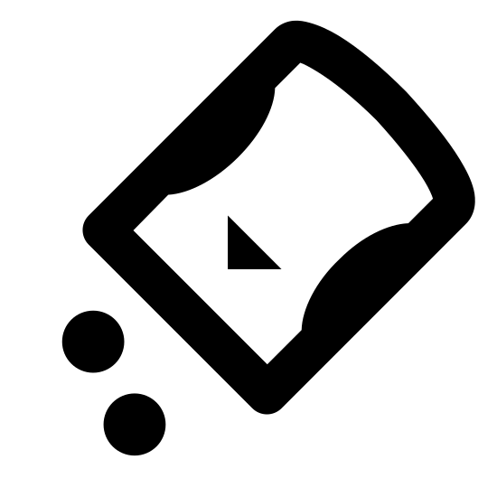 Sweetener icon. This is an image of a cylinder facing down on its diagonal.  Outside of the cylinder are two small circles on the bottom.  The cylinder shape has two small semi-circles on either side of it and a triangle towards the bottom.