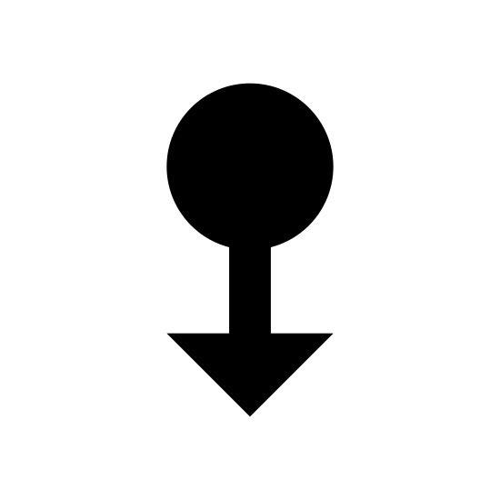 """Swipe Down icon. The """"swipe down"""" symbol here consists of a circle, with a straight line extending down from its lower half in the middle, with two diagonal, upward-reaching lines extending upwards from the end of the line. It is a circle with a downward-pointing arrow extending from it."""