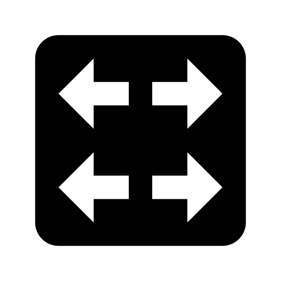 Schalter icon. There is a square with four arrows inside. They are all equally the same size, and all begin from the middle and point outward towards the left and right sides. There are two sets of arrows pointing opposite ways and staggered vertically.