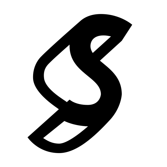 "Symbian icon. This is a logo of the letter ""S"". The logo is popping out in a three-dimensional manner, the main ""S"" to the right, and the three-dimensional trail behind it in the left."