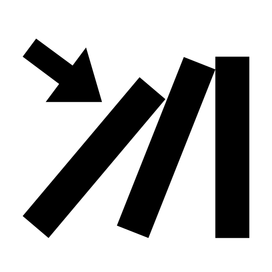 Trigger icon. This icon is depicting the domino effect. Three lines are shown with an arrow indicating the movement of one object being tipping over and causing the next two objects to fall over sequentially.