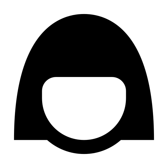 Female User icon. This icon has an oval that is cut off at the top by a shape that resembles female hair that is cut short. In the middle of the oval that represents the head, are two black dots that resemble eyes.