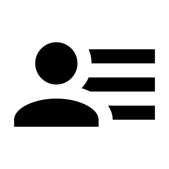 Меню пользователя, мужчина icon. This is a picture of the silhouette of a man's chest and face. to the right side of the man is three lines stacked on top of each other. the man does not have any eyes, nose, or a mouth.