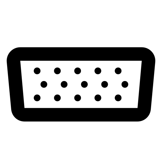 VGA icon. The shape resembles an upside down trapezoid. The trapezoid shape has 4 curved corners. Inside of it are 3 horizontal lines of circles with 4 circles in each of the rows.