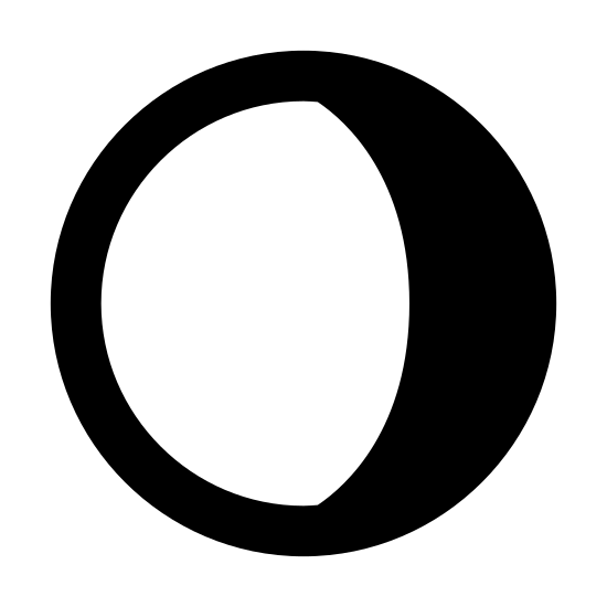 Убывающая луна icon. The icon is shaped like a full circle. However there is a shaded crescent shape part to the right that makes up a quarter of the circle. The crescent shaped part is covered with dots.