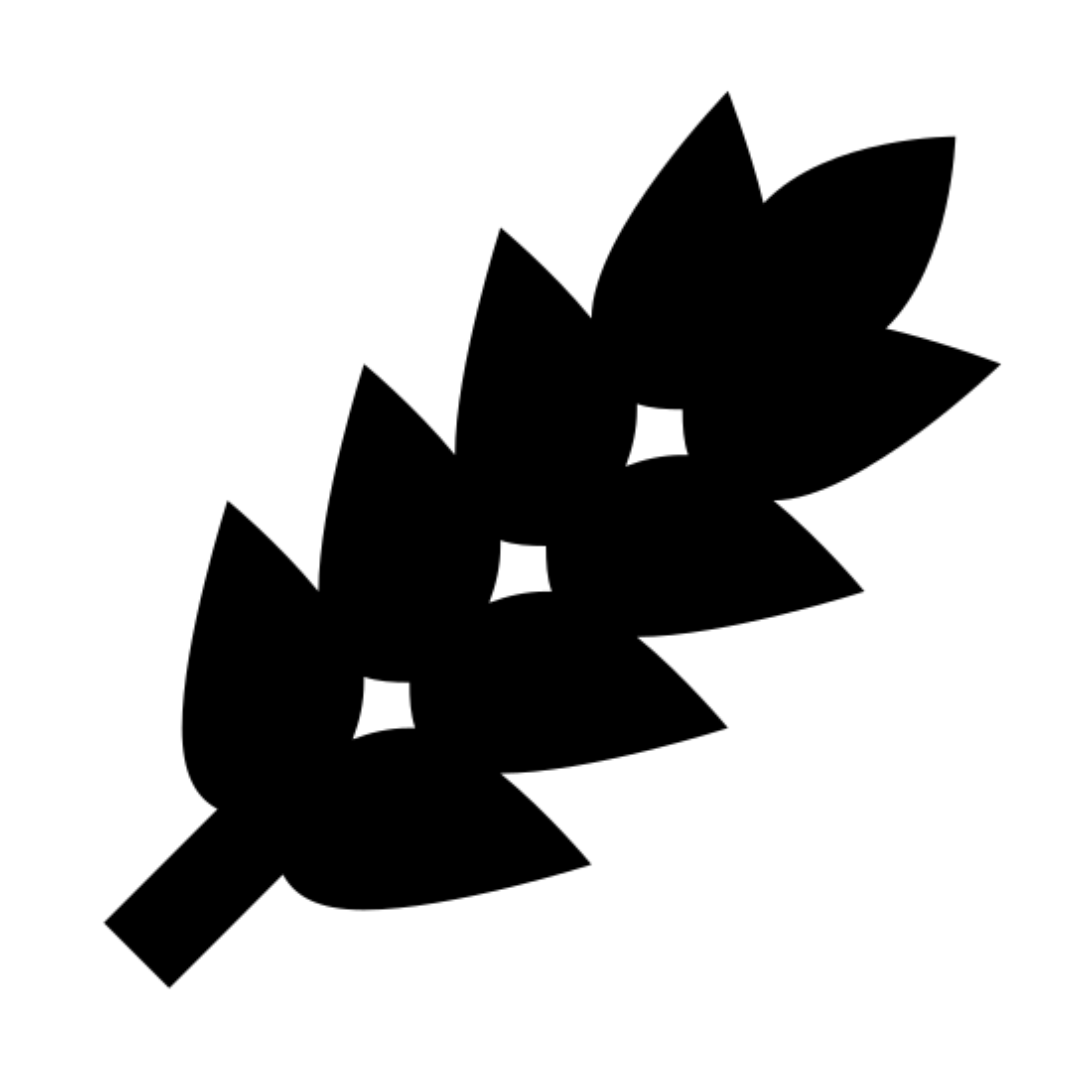 小麦 icon. It's a diagonal line going up from left to right. Starting from a quarter of the way up on the line are attached petals. Each petal is shaped somewhat like a football. there are six pairs of these petals and a final petal at the top of the line