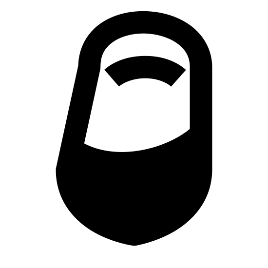 Widok buta Kobiecego z przodu icon. The icon is shaped something like a vertical oval rectangle. The bottom of it is pointed and the top is curved. Inside the shape towards the top is a curved domed line and towards the bottom is a squiggly line that runs left to right.