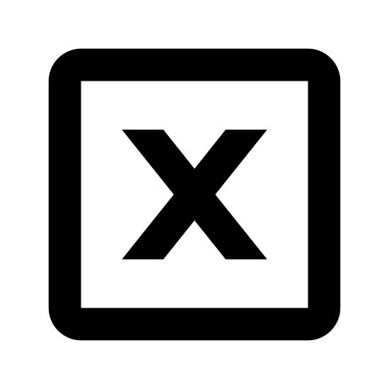 X坐标 icon. This is an X placed inside of a square. The square has round edges. The X is somewhat slanted, almost italicized.