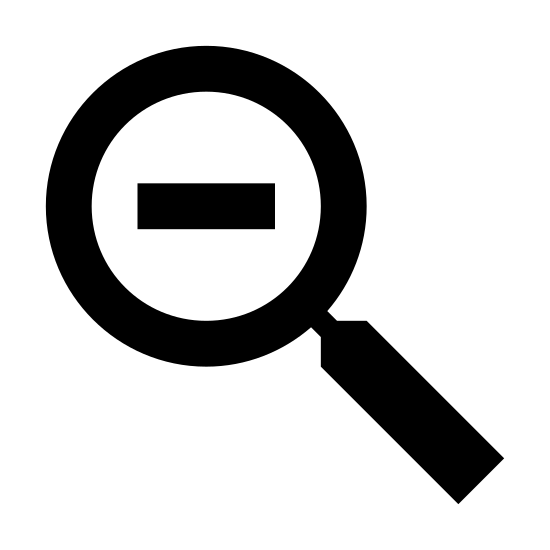 Zoom Out icon. This icon is in the shape of a magnifying glass, which is a circle with a solid rectangle attached to the lower right portion.  There is a large minus sign in the center of the circle.