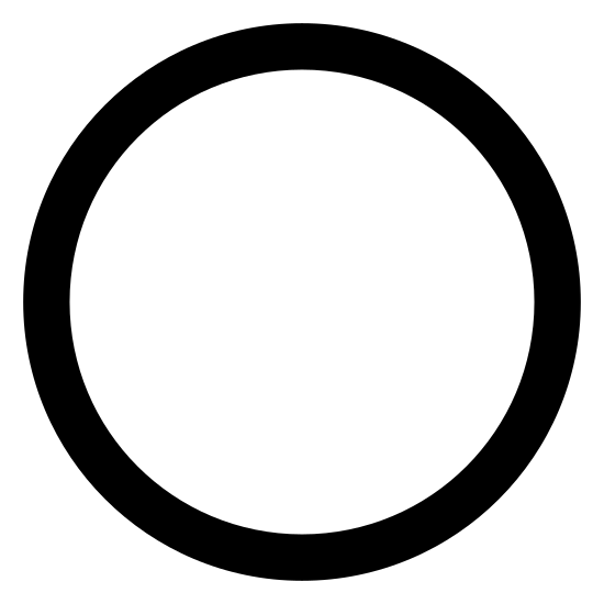 Etat actif icon. The icon for Active State is a large, round circle. The large, round circle is empty and there is nothing around the outside of the circle.