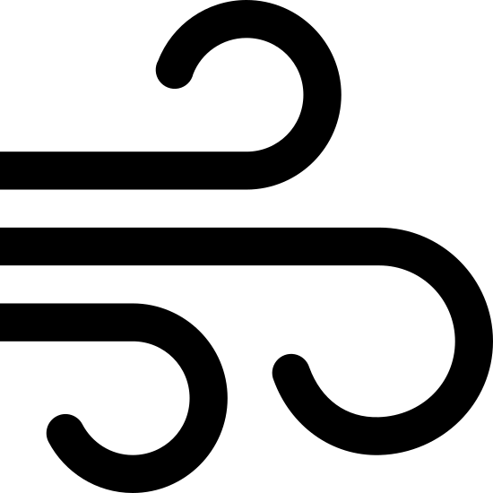 Żywioł powietrza icon. This particular icon features three black lines that have ends that curve. The middle one has the biggest curve, and the other two on the outside are curled away from the big one in the middle.