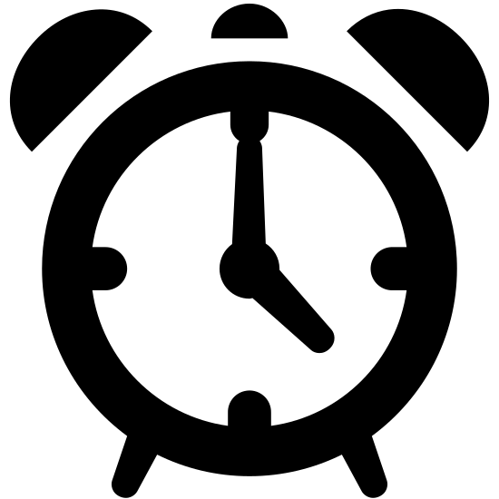Budzik icon. It is round with two half circles on both sides of the top. The bottom has legs and there is a line pointing at noon and 9 pm.