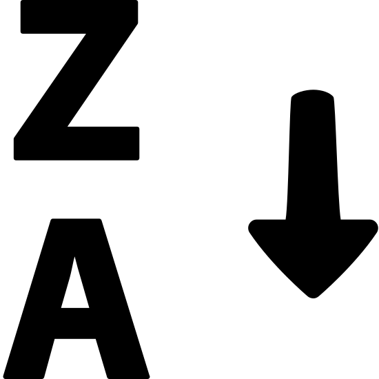 Alphabetical Sorting 2 icon. This image is composed of two letters and an arrow.  The letters are a capital Z, and below that, a capital A, all on the left side of the image.  On the right side of the image is a downward pointing arrow.