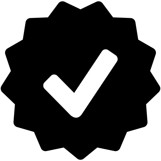Approval icon. This icon is a single check mark located in the center of a circle. The circle is ridged all around the circumference of the circle with many points extending outward.