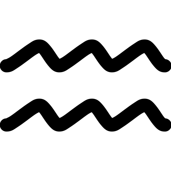 Wodnik icon. There are two identical smooth and wavy horizontal lines. Each line starts by going upward before reaching a rounded point and then it goes back down again until there are three rounded points and then making a final slope downward.