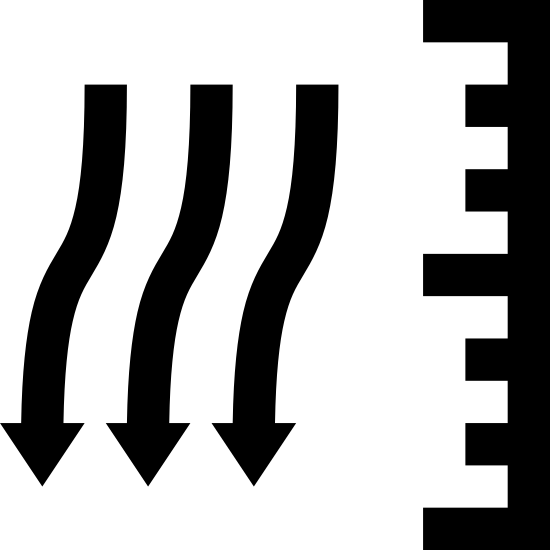 Atmospheric Pressure icon. There are three squiggly vertical lines that are side by side and have arrows pointing downward. To the left of these lines is a vertical line with seven lines pointing out from it, towards the three arrows. The seven lines vary in size with the longest of the seven being on the top, middle, and bottom. The other four lines are all the same size with two being in between the top and middle longer lines and the other two being in between the middle and bottom longer lines.