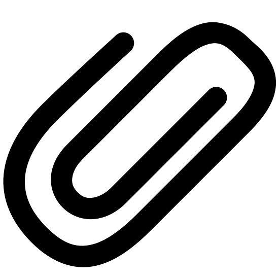 Attach icon. It is an image of a black paperclip. The paperclip is a solid line curved into a flat oval looped shape. The black paperclip is on a solid white background.