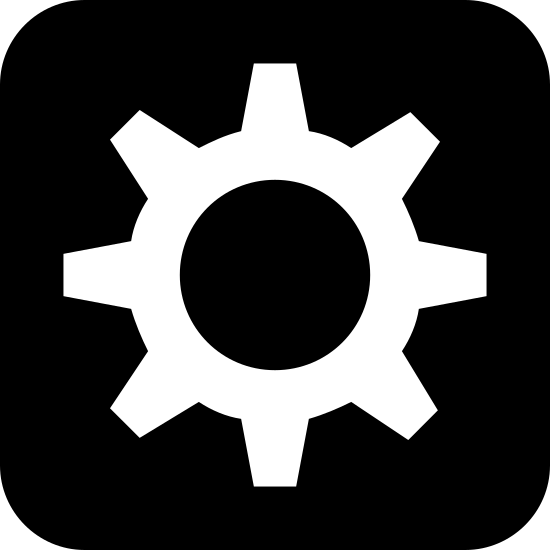 Automatyczny icon. The Automatic icon, a square with edges curved instead of pointed, with a gear inside. The gear takes up most of the profile of the square, and seems to be the smaller cog that fits next to a larger one, based on the spacing of the teeth.