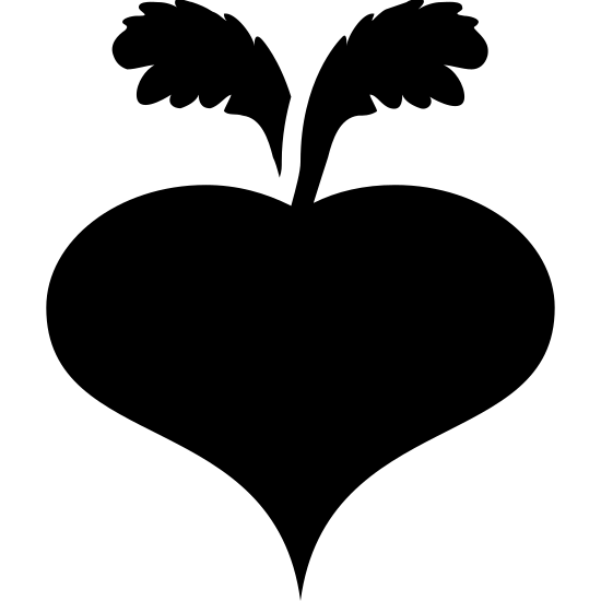 Beet icon. The icon is shaped like a heart. At the top center of the heart shape are two leaf-like shapes. The one on the left is leaning towards the left and the one on the right is leaning right.