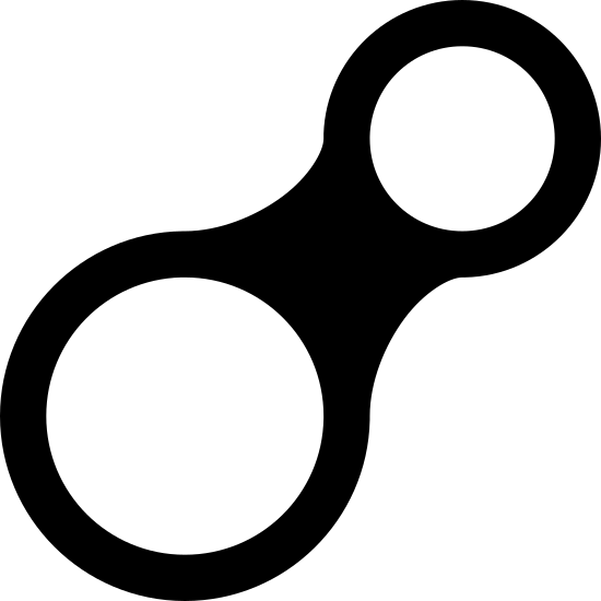 Belayer icon. This object looks like the number 8, except turned on its side and with the lower half being twice as big as the top. In the middle of the top and bottom sides are circles.