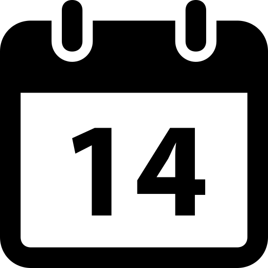 Kalendarz 14 icon. This logo shows a calendar page with the number 14 on it. The logo is square, and black and white.